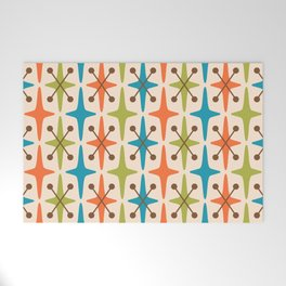 Mid Century Modern Abstract Star Pattern 441 Orange Brown Turquoise Chartreuse Welcome Mat