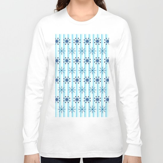Snowflakes on a striped background Long Sleeve T-shirt