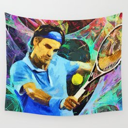 Roger Federer Colorful Wall Tapestry