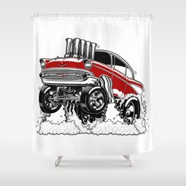 57 Gasser REV-3 RED Shower Curtain
