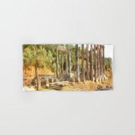 Fallen Ruins of Euromos Watercolor Hand & Bath Towel