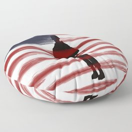 Soldier and Flag - Patriotic Floor Pillow