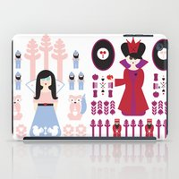 evil queen iPad Cases featuring Good vs Evil: Snow White and the Evil Queen by Michelle Reaney
