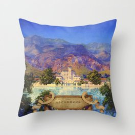 Broadmoor Hotel, Colorado Springs landscape by Maxfield Parrish Throw Pillow