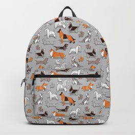 Origami doggie friends // grey linen texture background Backpack