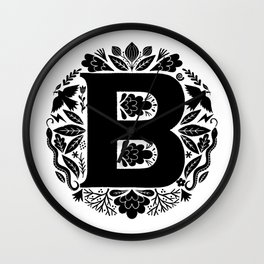 Letter B monogram wildwood Wall Clock