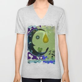Sun, Moon and Earth Unisex V-Neck