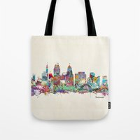 cincinnati Tote Bags featuring Cincinnati Ohio skyline by bri.buckley