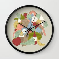 food Wall Clocks featuring FOOD by Nora