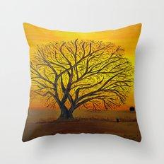 Rural sunset Throw Pillow
