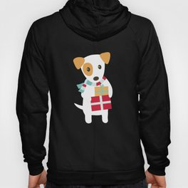 Cute Christmas dog holding a stack of gifts Hoody