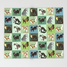 Best Nine  Mustelids from Spain Throw Blanket
