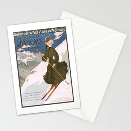 1905 Chamonix France Winter Sports Travel Poster Stationery Cards