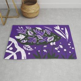 Hedgehog in autumn woods - Dark Purple Palette Rug