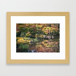 Japanese Garden, colorful in autumn in Kyoto. Framed Art Print