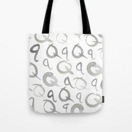 Watercolor Q's - Grey Gray Tote Bag