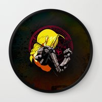 fullmetal Wall Clocks featuring YELLOW HAIR ALCHEMIST by BradixArt