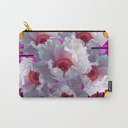 BUTTERFLIES  WHITE TREE PEONY FLOWERS  BURGUNDY ART Carry-All Pouch
