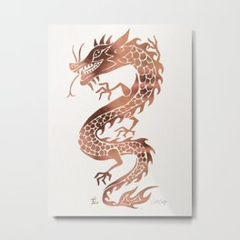 Chinese Dragon – Rose Gold Palette Metal Print