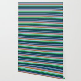 Blue,Green & Orange Stripes Wallpaper