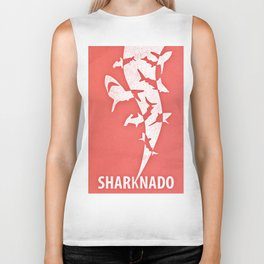 Sharknado minimalist illustration Biker Tank