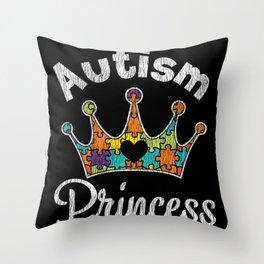 Retro Autism Princess Girl Autistic Kids Awareness Throw Pillow