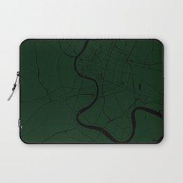 Bangkok Thailand Minimal Street Map - Forest Green and Black Laptop Sleeve