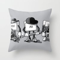 computer Throw Pillows featuring Computer Mafia by MEKAZOO