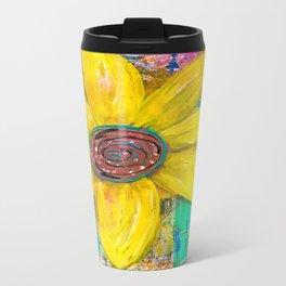 Abstract Yellow Flower Travel Mug