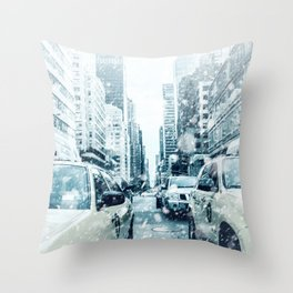 New York City Snowing Blizzard Photo Big Apple Streets Cars Throw Pillow