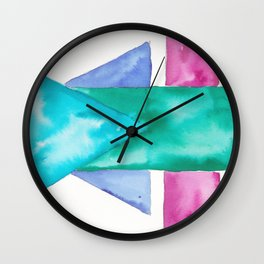 180819 Geometrical Watercolour 4| Colorful Abstract | Modern Watercolor Art Wall Clock