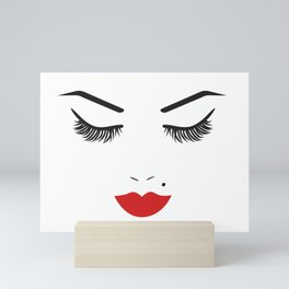 Beauty Face with Red Lips Mini Art Print