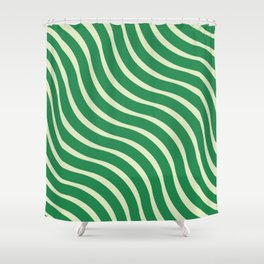 Abstract Waves illusion Pattern - Jungle Green Shower Curtain