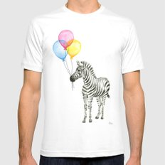 Zebra with Balloons Watercolor Baby Animals MEDIUM White Mens Fitted Tee