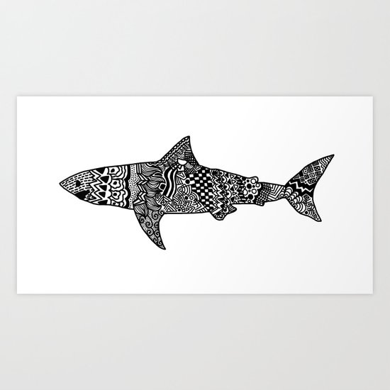 Doodle Shark Art Print