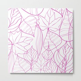 Abstract Modern Pink Hand Painted Leaves Pattern Metal Print