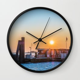 The blue ice on the river Wall Clock