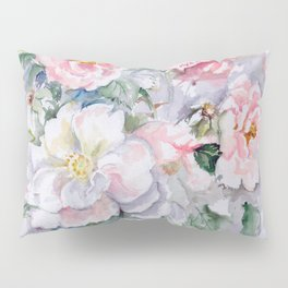White Wild Roses Watercolor painting White Pink Rose Flower Bouquet Wedding decor Pillow Sham