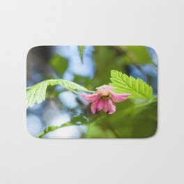 Salmonberry Blossom Photography Print Bath Mat