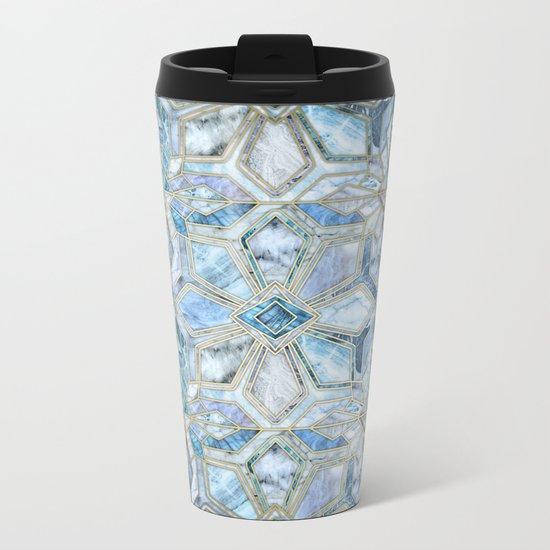 Geometric Gilded Stone Tiles in Soft Blues Metal Travel Mug
