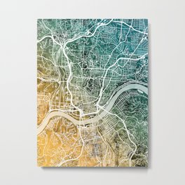 Cincinnati Ohio City Map Metal Print