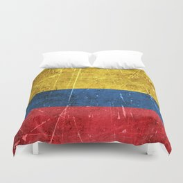 Vintage Aged and Scratched Colombian Flag Duvet Cover