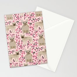 French Bulldog fawn coat cherry blossom florals dog pattern floral dog breeds Stationery Cards