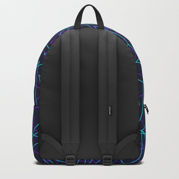 Abstract Geometric 3D Triangle Pattern in  turquoise/ purple  Backpack
