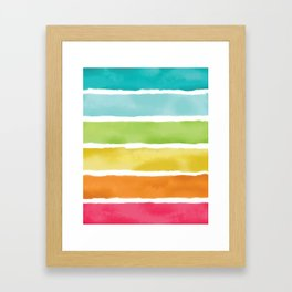 Watercolor Rainbow Stripes Framed Art Print
