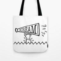scream Tote Bags featuring SCREAM by Andrea Vietti