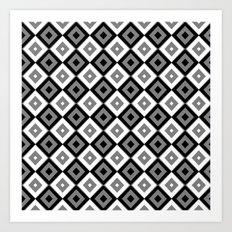 Gray White and Black Diamonds Art Print