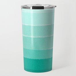 Ombre - Brushstroke Green/Blue Ocean Ombre, girly trend, dorm decor, cell phone, beach, summer,  Travel Mug