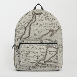 Vintage Staten Island & NYC Harbor Map (1733) Backpack