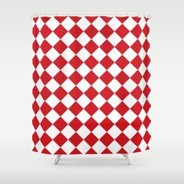 Diamonds - White and Fire Engine Red Shower Curtain